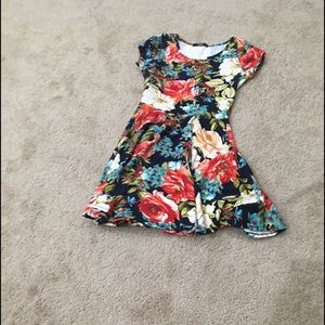Papaya fit and flare bold floral print scoop neck